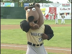 Woody Woodchuck shows off the muscles he worked on during the offseason