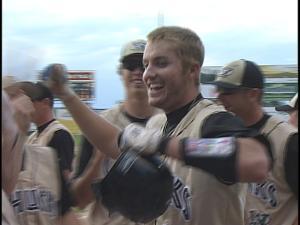 Brett Krill celebrates after his 3-run homer Friday night