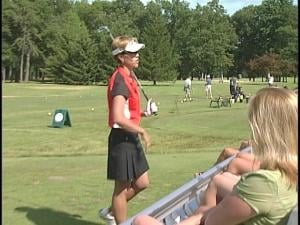 Suzy Whaley teaches during a golf clinic Monday afternoon