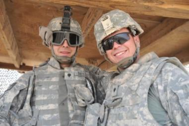 The brothers of Safwan Hill: Spc. Kyle Bestul (right) and Spc. Kory (left) of New Holstein. The brothers enjoy their time on the hill and see it as a chance to hang out together. U.S. Army photo by Spc. Tyler Lasure.
