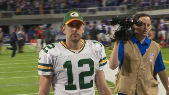 Aaron Rodgers leaves the field after Sunday's loss in Minnesota. Rodgers fumbled three times and threw an fourth-quarter interception.