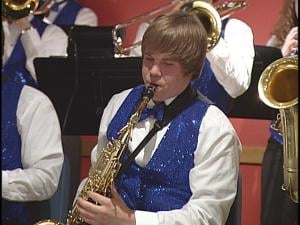 James Kittel plays sax recently at Red Eye Brewing Company