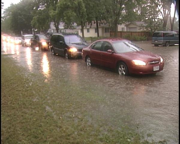 Cars lined up near Sherman Street and 17th Avenue in Wausau