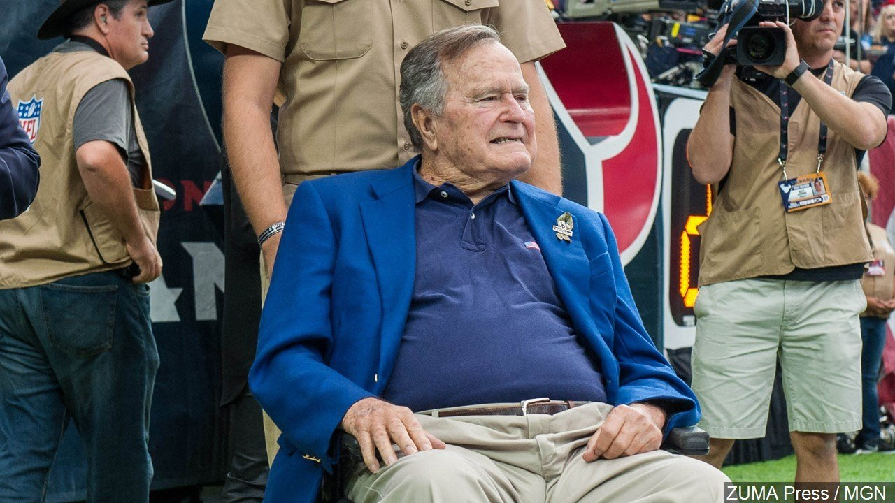 Former President George H. W. Bush in a wheelchair attending a Houston Texans football game., Photo Date: 10/30/16 MGN