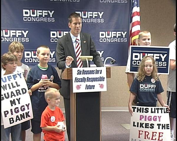 Sean Duffy surrounded by children from the Wausau area