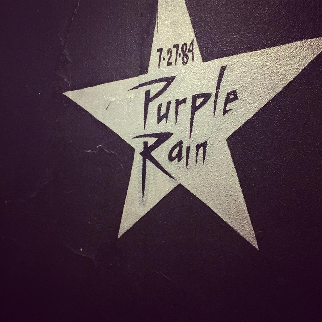 Purple Rain star featured on the wall inside First Ave in Minneapolis.