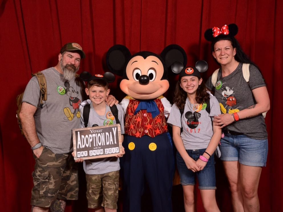 Mickey helps parents surprise kids with adoption news