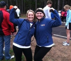 Cami Mountain and Courtney Fasano flex their muscles pre-half marathon