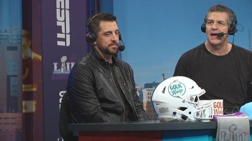 Packers quarterback Aaron Rodgers appeared on ESPN's 'Golic & Wingo' show Thursday in Bloomington, MN.