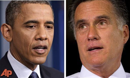 In 2012 file photos President Barack Obama, left, Talks to reporters in Washington on June 8 and former Massachusetts Gov. Mitt Romney speaks during a campaign stop in Cincinnati, Ohio, on June 14. (AP Photo/Scott Applewhite, left, and Evan Vucci, file)