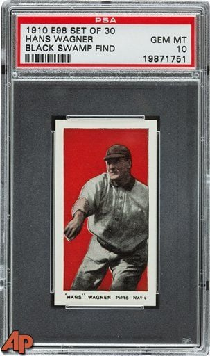 This photo provided by Heritage Auctions of Dallas, TX shows a 1910 Honus Wagner baseball card found in the attic of a house in Defiance, Ohio. (AP Photo/Heritage Auctions)