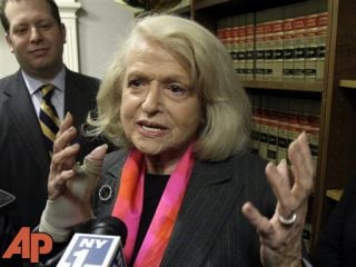 This Oct. 18, 2012 file photo shows Edith Windsor interviewed at the offices of the New York Civil Liberties Union, in New York. (AP Photo/Richard Drew, File)