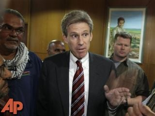 U.S. envoy Chris Stevens speaks to local media at the Tibesty Hotel where an African Union delegation was meeting in Benghazi, Libya, April 11, 2011.(AP Photo/Ben Curtis, File)