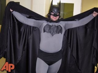 Mark Williams dressed as Batman, at the Emmet County jail in Petoskey, Mich, May 11, 2011. (AP Photo/Petoskey Department of Public Safety via Petoskey News-Review)