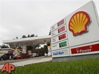 Gas prices approach $5.00 a gallon at a Shell Station Monday, Oct. 8, 2012 in Encinitas, Calif. Gas prices across California have risen dramatically in the past week. (AP Photo/Lenny Ignelzi)