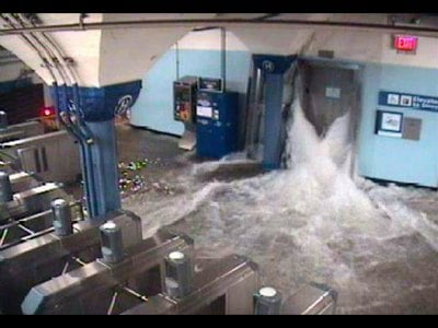 Floodwaters from Hurricane Sandy rush into the Port Authority Trans-Hudson's (PATH) Hoboken, New Jersey station through an elevator shaft in this video frame grab from the NY/NJ Port Authority twitter feed October 29, 2012. NY/NJ Port Authority