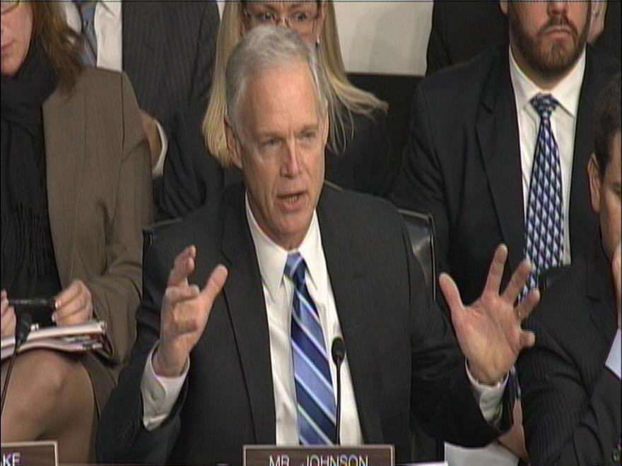 Sen. Ron Johnson (R-Wisconsin) asks questions about the Benghazi attack during the Senate Foreign Relations Committee hearing.