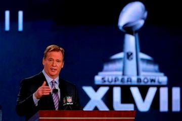 (AP Photo/Charlie Riedel). NFL Commissioner Roger Goodell answers questions during an NFL Super Bowl XLVII football game news conference at the New Orleans Convention Center, Friday, Feb. 1, 2013. in New Orleans.