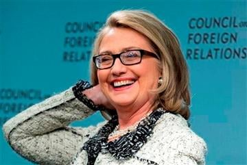 (AP Photo/Manuel Balce Ceneta). Secretary of State Hillary Rodham Clinton smiles before speaking on American leadership at the Council on Foreign Relations in Washington, Thursday, Jan. 31, 2013.