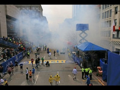 Scene at The Boston Marathon explosions  Photo Credit: Twitter 4/15/2013
