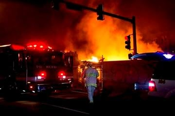 (AP Photo/The Kansas City Star, Tammy Ljungblad). Firefighters are on the scene of a gas explosion and massive fire Tuesday night, Feb. 19, 2013 at JJ's restaurant at the Country Club Plaza in Kansas City, Mo.