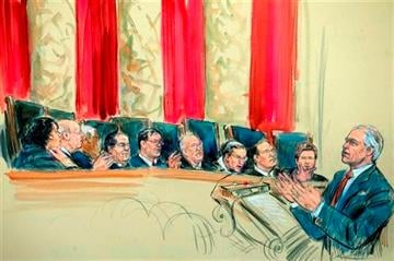 (AP Photo/Dana Verkouteren). This artist rendering shows attorney Charles J.
