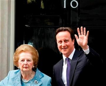 (AP Photo/Alastair Grant,File). FILE - This is a Tuesday, June, 8, 2010 file photo of Britian's Prime Minister David Cameron poses with former Prime Minister Margaret Thatcher on the doorstep of 10 Downing Street in London.
