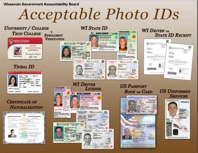 Acceptable photo IDs for the Feb. 16 elections.