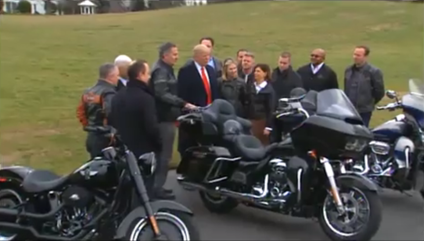 harley-davidson executives travel with bikes to meet with presid