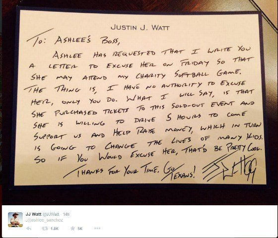 Update boss gives employee day off after work excuse from jj waow former badger and houston texan jj watt wrote a letter to excuse a fan from work who wanted to attend watts charity softball game according to altavistaventures Choice Image