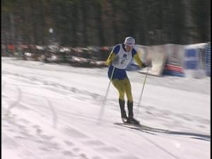 West's Matt Nichols crosses the line first at the State Nordic Ski Championships at Nine Mile Forest