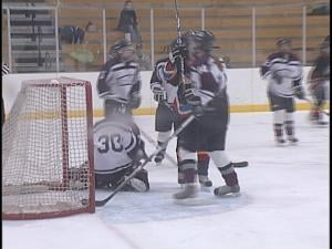 The Storm's Hillary Drake makes a save during the team's loss to St. Croix Valley